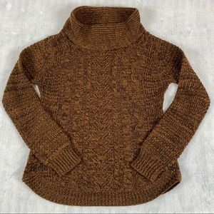 Eclipse Cable Knit Pull Over Sweater Sz Medium Brown Heather Colour Curved Hem